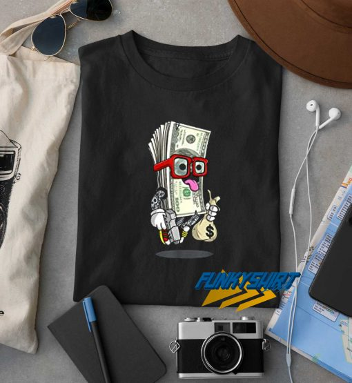 Money Bag With Gun Funny t shirt