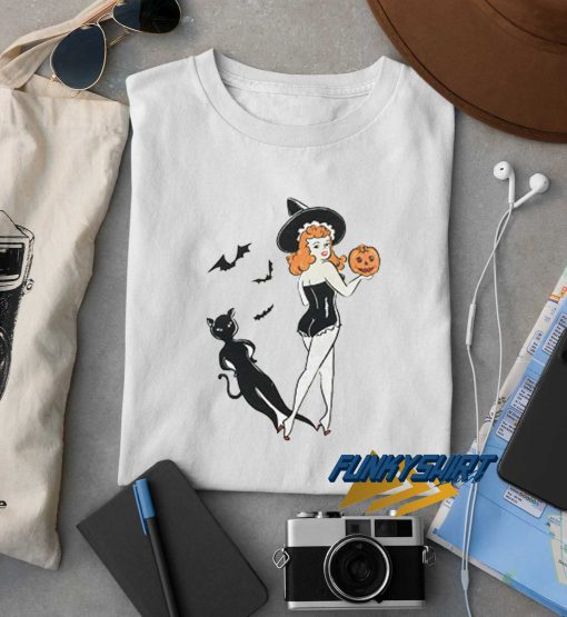 Halloween Vintage Redhead Pin Up Witch t shirt