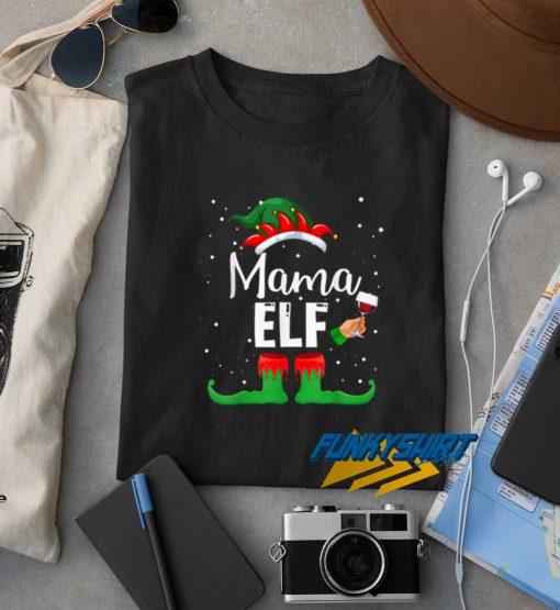 Hot Mama Elf Wine Matching Family Christmas t shirt