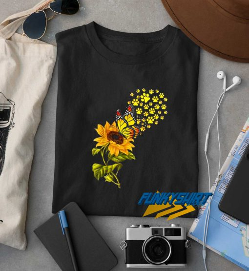Top Dog Paw Sunflower And Butterfly t shirt