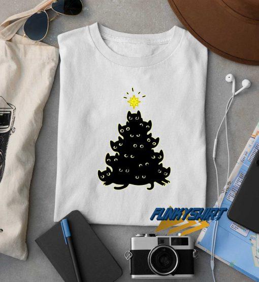 Meowy Cat Christmas Tree t shirt