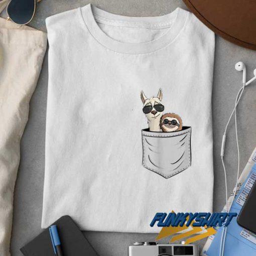 Llama And Sloth Pocket Print t shirt